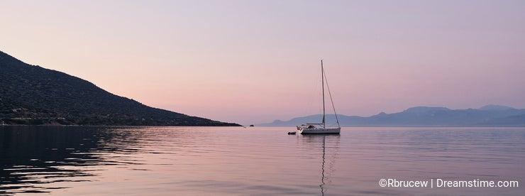 Yacht Anchored in Gulf of Corinth Bay at Dawn, Greece