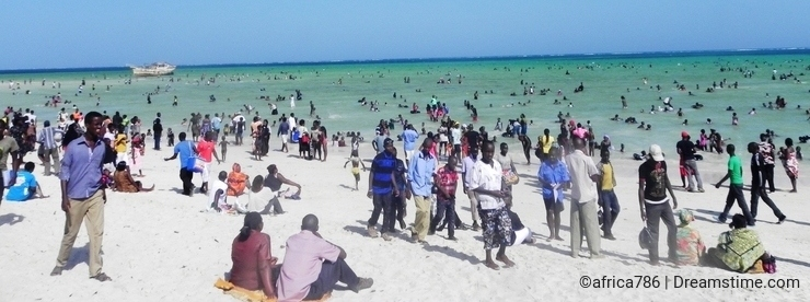 Holiday fun at the beach of the Indian Ocean Mombasa