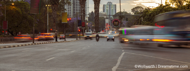 Nairobi traffic at dusk