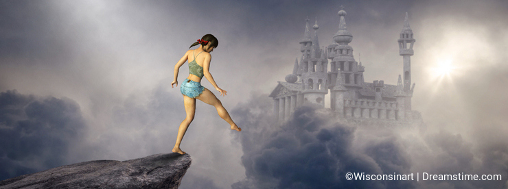 Surreal Fantasy Castle, Woman, Cliff