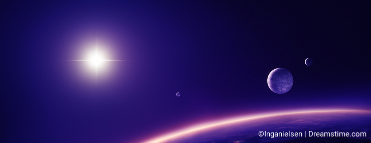 Planets moons and sun in purple light
