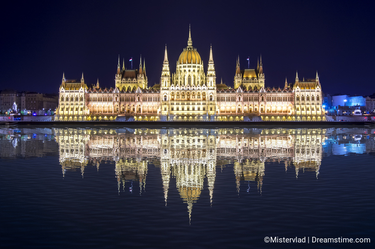 Hungarian Parliament Building at night with reflection in Danube river, Budapest, Hungary