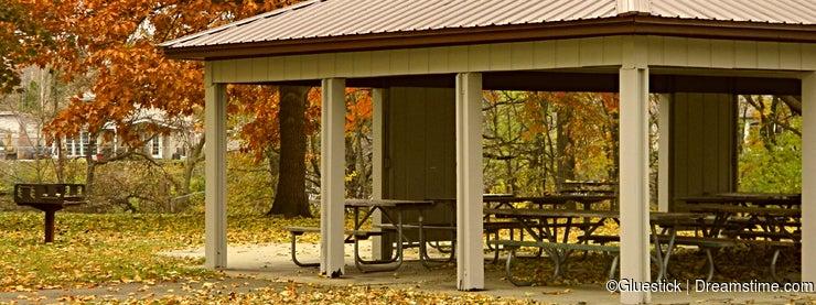 Autumn Park Shelter Background