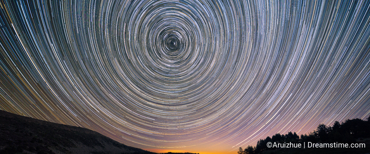 Star trails over Laguna Grande in neila, Burgos