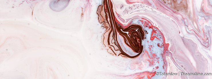 Swirls of marble or the ripples of agate. Liquid marble texture with pink, white and brown colors. Abstract painting