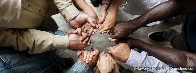 Group of christian people are praying together
