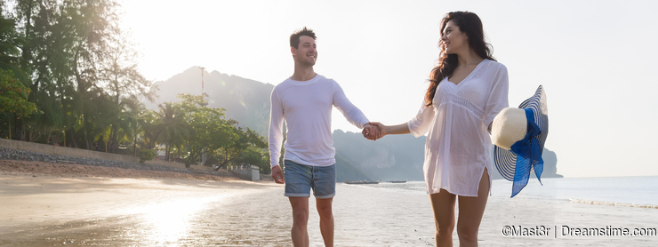 Couple On Beach Summer Vacation, Beautiful Young Happy People In Love Walking, Man Woman Smile Holding Hands