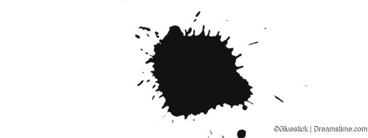 Dark Black Wet Ink Drop Splatter