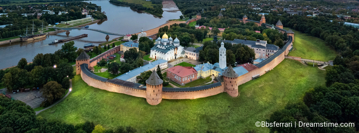 Aerial view of Veliky Novgorod kremlin at dusk