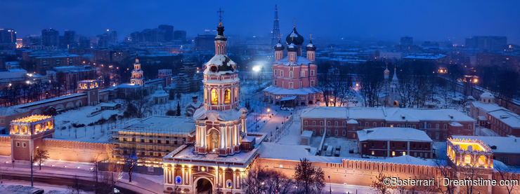Aerial view of Donskoy Monastery at dusk, Moscow