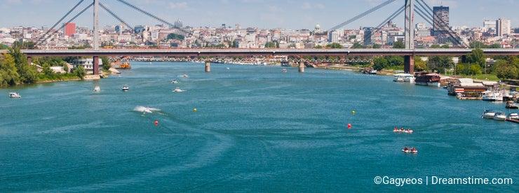 Panorama of Belgrade downtown from river Sava