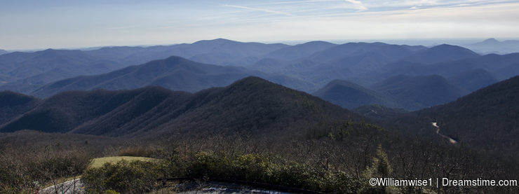 Overlook view of North Georgia Mountains from Brasstown Bald