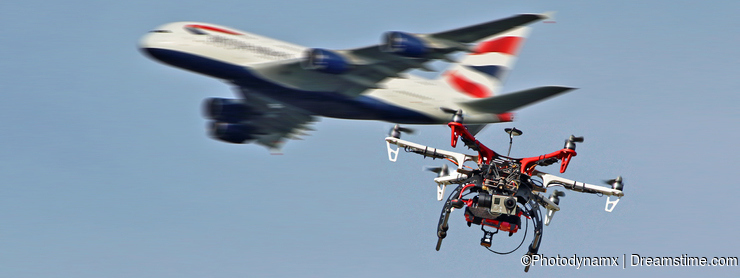 Danger flying drones near airports illegal