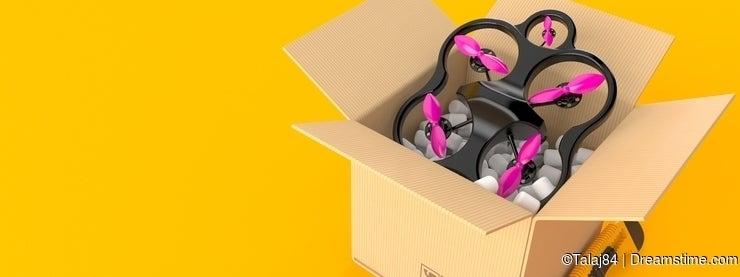 Drone inside cardboard box