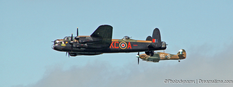 Avro lancaster bomber and hawker hurricane