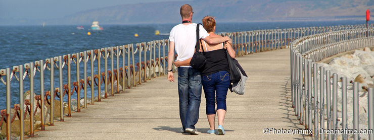 Romantic couple on holiday walk