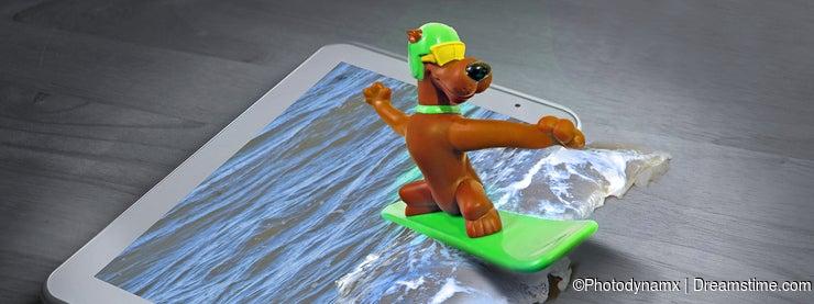 Surfing surfboard cartoon dog active healthy pets animals