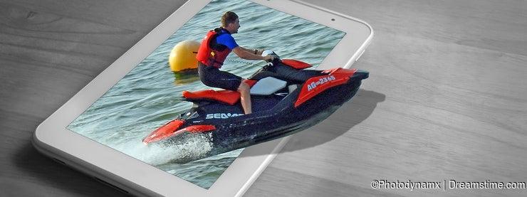 Jet ski racing regatta race watersports boat tablet concept