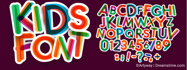 Kids letters and numbers set. Bold, colorful vector latin alphabet. Fonts for kids zone, promotions, logos, banner
