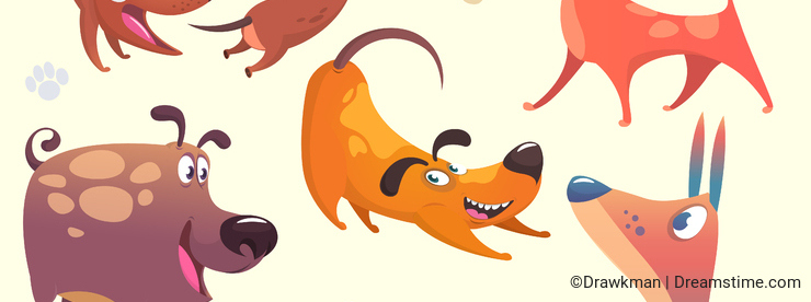 Cartoon dogs set. Vector illustrations of dogs