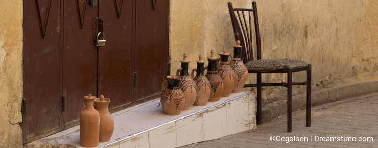 Small pottery store in huge medina of Fez, Morocco.
