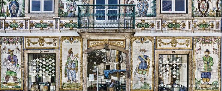 Portuguese Handmade Glazed Tiles, Azulejos. Lisbon Portugal.