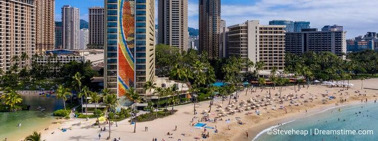 Hilton Hawaiian Village frames the shore in Waikiki Hawaii