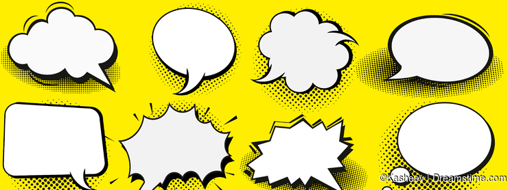 Set of blank template in Pop Art style. Vector Comic Text Speech Bubble Halftone Dot Background. Empty Cloud of Comics book dialog