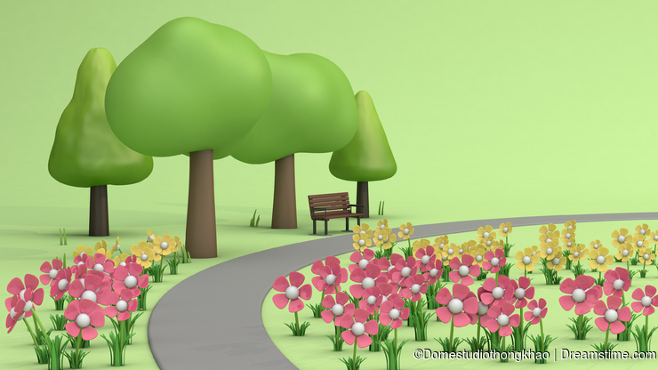 Flower garden and walkway,trees in green parks,cartoon style low poly 3d render