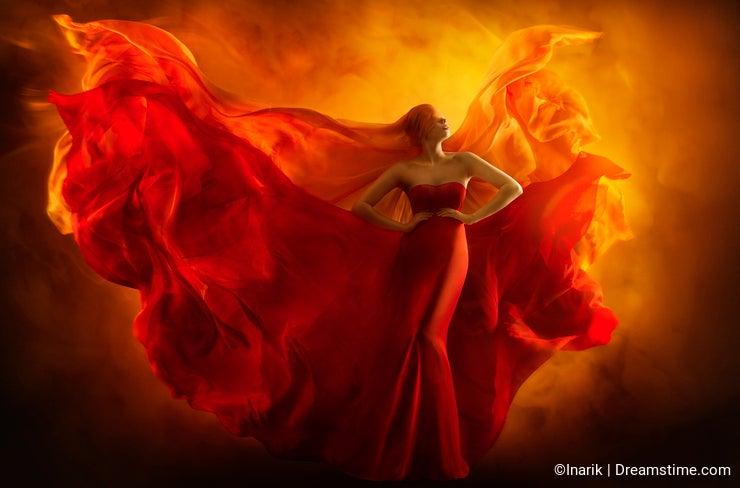 Fashion model art fantasy fire dress, blindfolded woman dreams