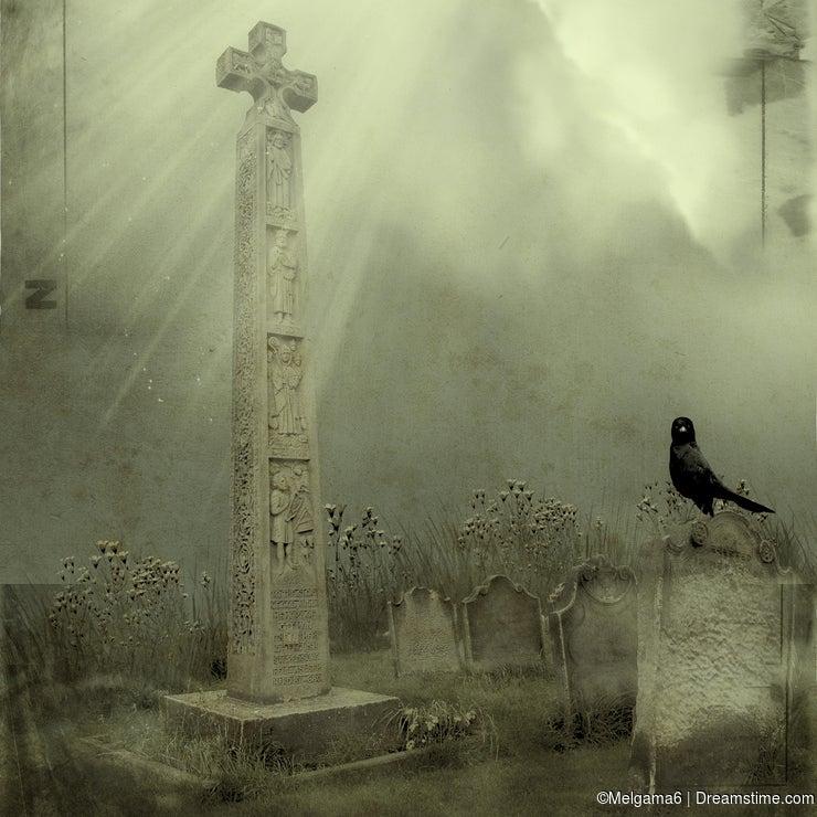 Whitby Cemetery with gravestones