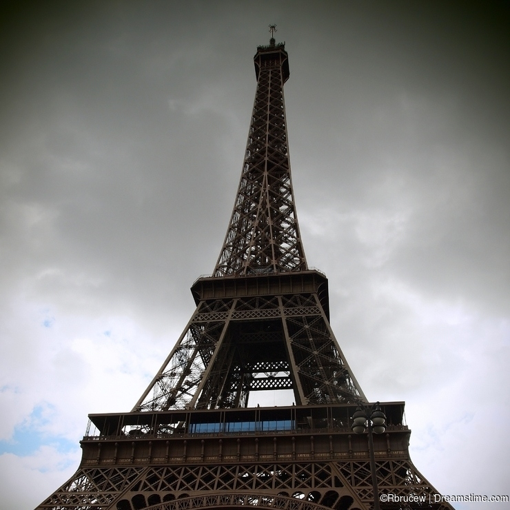 Eiffel Tower, Paris, on a Cloudy and Gloomy Day