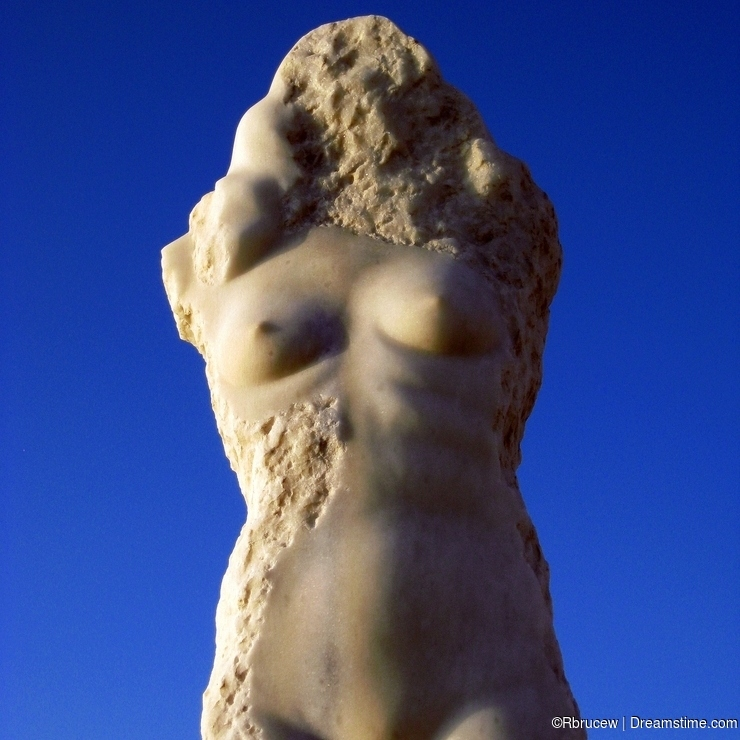 Torso of Unfinished Marble Statue of Naked Female, Naxos Greek Island, Greece