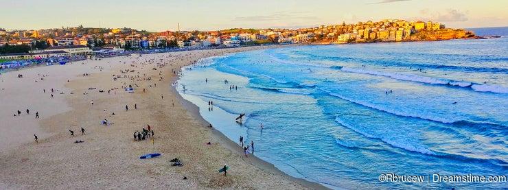 Late Afternoon Autumn Day at Yellow Sand Bondi Beach, Sydney, NSW, Australia