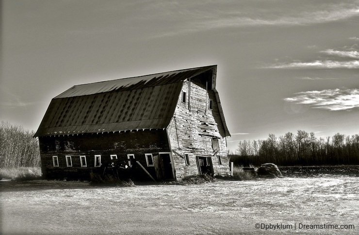 A Black and White Abandoned Barn Landscape