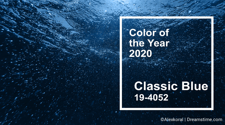 Classic blue main color trend of the Year 2020. air bubbles in blue clean water sea surface under water
