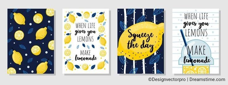 Set of cards with juicy lemons and quotes