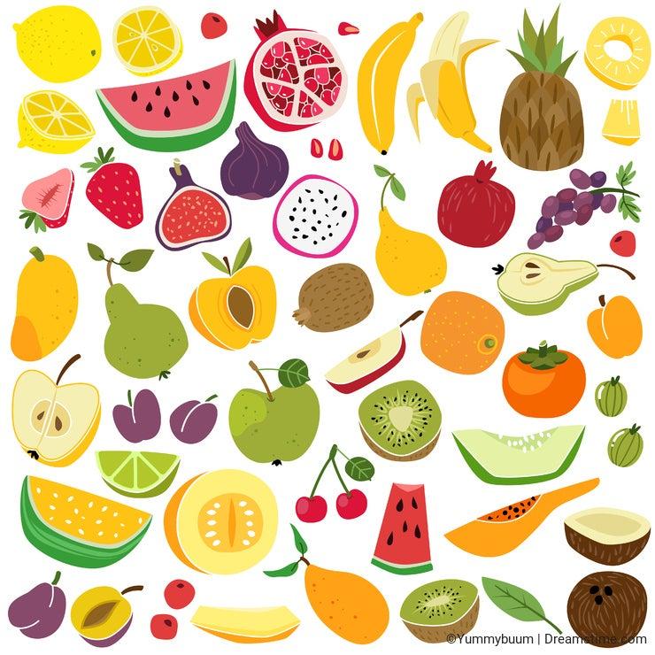 Fruits set. Cute fruit lemon watermelon banana pineapple apple pear strawberry fresh colorful funny kids food summer