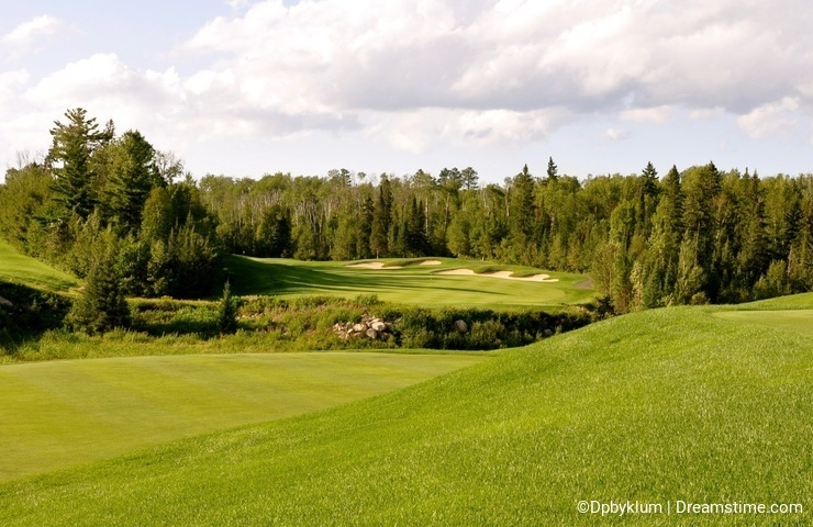 Hole #1 on the Golf Course at Giant`s Ridge, Minnesota.