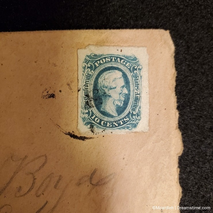 Antique mail with cancelled Confederacy postage stamp