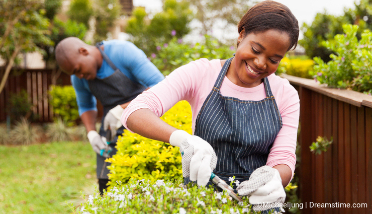 Woman gardening with husband