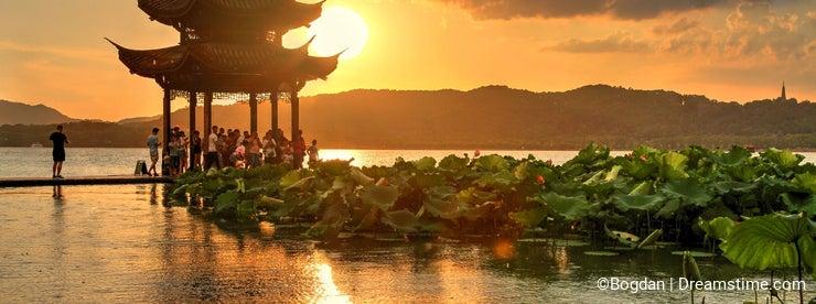 Sunset on West Lake in Hangzhou, China