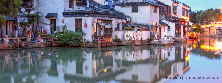 Traditional Chinese water houses in Tongli, China