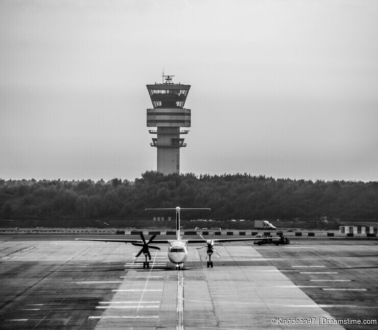 Brussels Zaventem Airport in Belgium: Plane About to Take Off