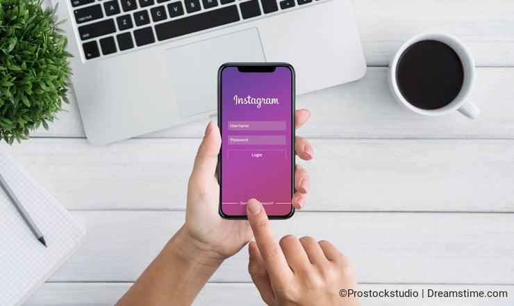 KHARKOV, UKRAINE - December 23,2018: Woman log in with Instagram