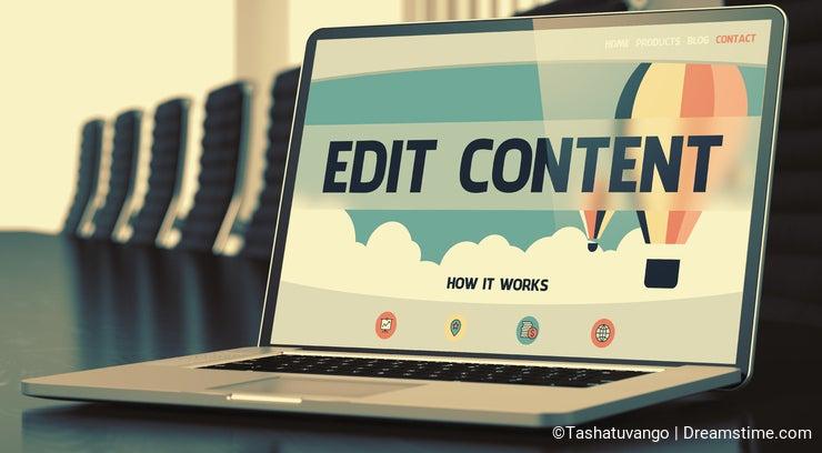 Landing Page of Laptop with Edit Content Concept. 3D.