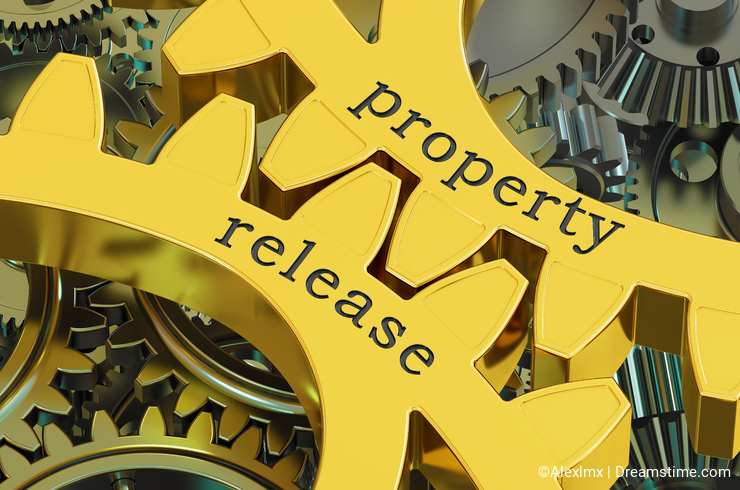 Property release concept on the gearwheels, 3D rendering