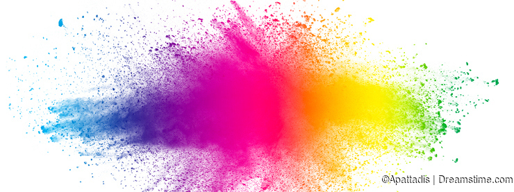 Abstract multi color powder explosion on white background.