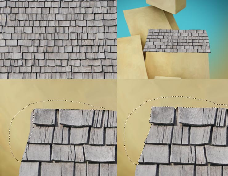 Photoshop Tutorial: Whimsical Wonders - Step 6 - Roof Texture, Adding Roof & Trimming Roof