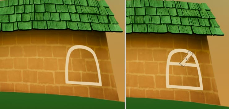 Photoshop Tutorial: Whimsical Wonders - Step 9 - Window Frame